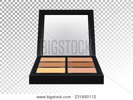 Cosmetic Realistic Plastic Black Compact Pallet With Means For Face Correction, Concealers. Cosmetic