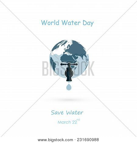Water Drop And Water Tap Icon.blue Globe Icon Vector Logo Design Template.world Water Day Icon.world