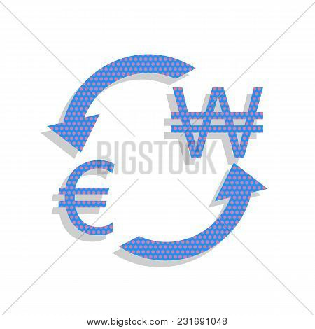Currency Exchange Sign. Euro And South Korea Won. Vector. Neon Blue Icon With Cyclamen Polka Dots Pa