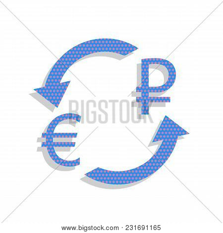 Currency Exchange Sign. Euro And Russia Ruble. Vector. Neon Blue Icon With Cyclamen Polka Dots Patte