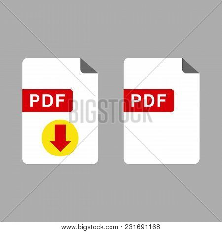 Vector Flat Pdf File Icon And Vector Pdf Download Icon Set Isolated On Gray Background.