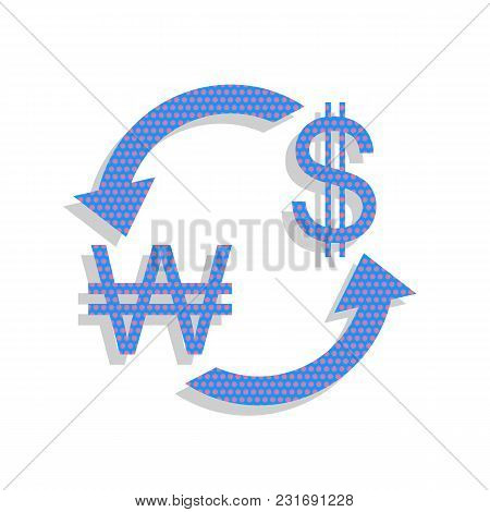 Currency Exchange Sign. South Korea Won And Us Dollar. Vector. Neon Blue Icon With Cyclamen Polka Do