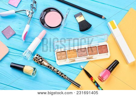 Woman Makeup Products And Accessories. Fashion Makeup Essentials And Makeup Tools, Blue And Yellow B