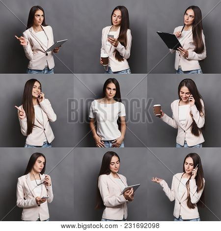 Set Of Different Emotions Of Casual Woman At Gray Studio Background. Young Female Using Gadgets And