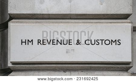 London, Uk - March 7, 2018: Hm Revenue And Customs Sign On A Building In Whitehall, London, England,