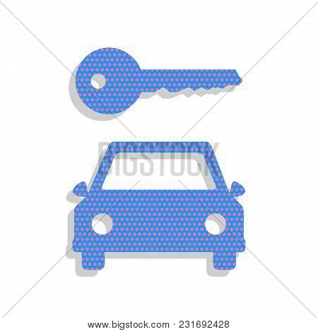 Car Key Simplistic Sign. Vector. Neon Blue Icon With Cyclamen Polka Dots Pattern With Light Gray Sha