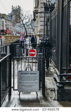 London, Uk - March 7th, 2018: Security Notice And Police Officers Outside 10 Downing Sreet, London,