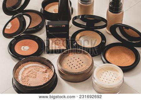 Set Of Decorative Cosmetic. Face Powders, Blush, Foundations. White Background.