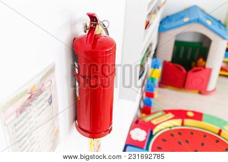 Fire Extinguisher For Emergency Management In Kindergarten.