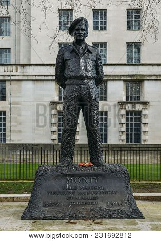London, Uk - March 7th, 2018: Statue Of Wwii Hero, Field Marshal Viscount Montgomery Of Alamein, Sta