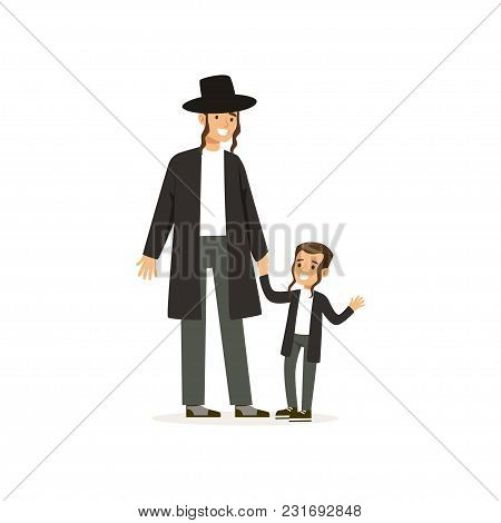 Cartoon Characters Of Orthodox Jews Smiling Father And His Little Son With Payots. Religious Family.