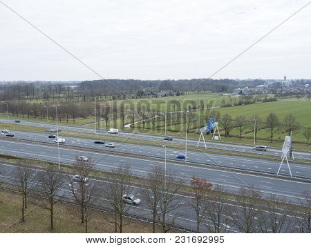 Traffic On Motorway A28 Near Utrecht Uithof And Zeist In The Netherlands
