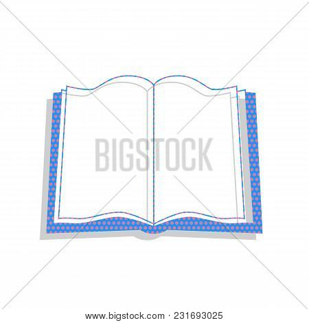 Book Sign. Vector. Neon Blue Icon With Cyclamen Polka Dots Pattern With Light Gray Shadow On White B