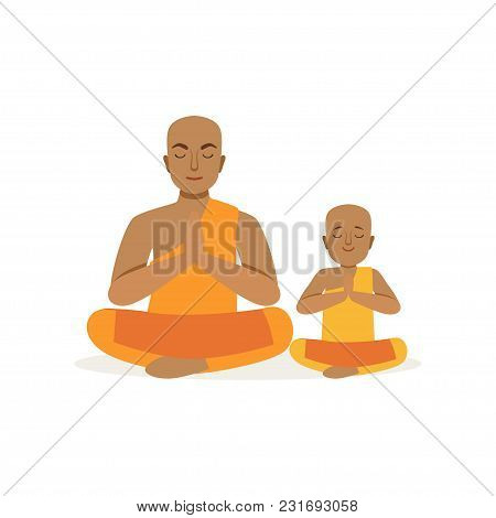Buddhist Father And His Little Son Meditating In Lotus Position. Religious Family. Man And Boy In Na