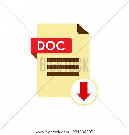 Download Doc Icon. File With Doc Label And Down Arrow Sign.