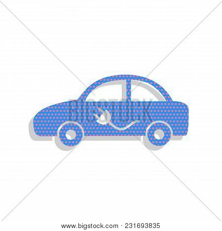 Electric Car Sign. Vector. Neon Blue Icon With Cyclamen Polka Dots Pattern With Light Gray Shadow On