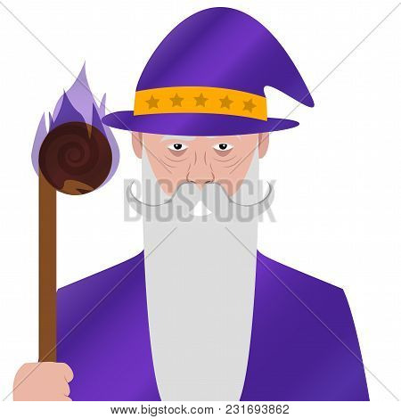 Cartoon Character. Avatar Symbol. Wizard. Magician. Vector Illustration