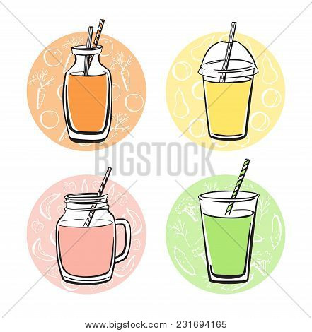 Colorful Vector Set Of Doodle Cups, Jars, Glasses And Bottles With Tasty Nonalcoholic Beverages. Han