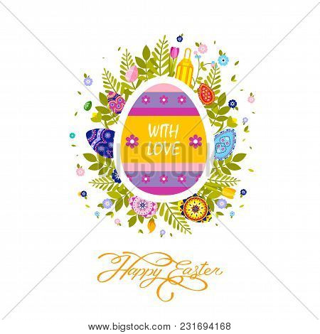 Stock Vector Illustration Flyer Brochure Banner With Inscription Typography Happy Easter On Colored