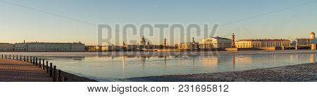 Panoramic View Of The Spit Of Vasilievsky Island And The Embankments Of The Neva River Early In The