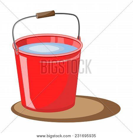 Red Bucket Of Water. Vector Illustration. Fire Bucket. Extinguish. A Bucket Of Water For The Garden.