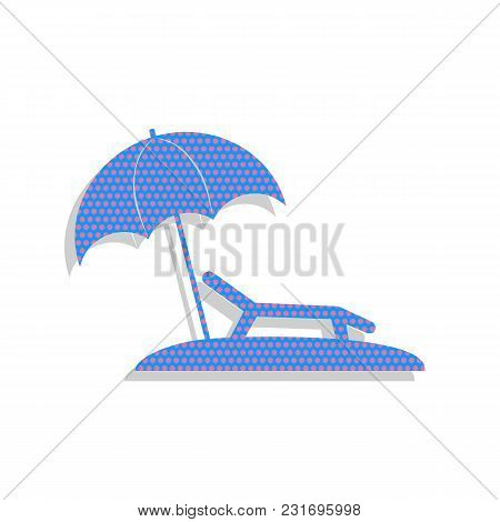 Tropical Resort Beach. Sunbed Chair Sign. Vector. Neon Blue Icon With Cyclamen Polka Dots Pattern Wi