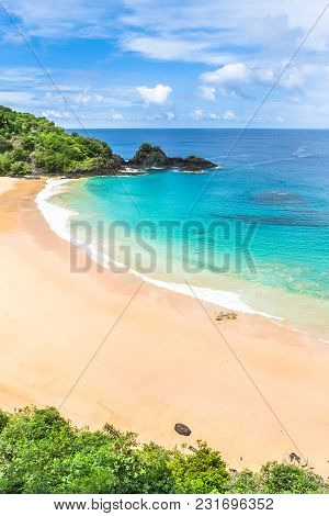 Fernando De Noronha, Brazil. Aerial View Of The Sancho Beach On Fernando De Noronha Island.