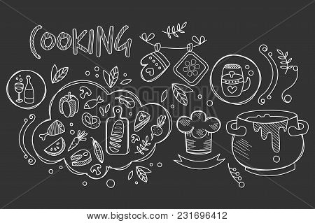 Hand Drawn Design Of Cooking Ingredients And Kitchen Utensils For Preparation Dishes. Food And Drink