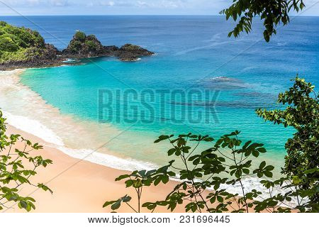 Fernando De Noronha, Brazil. Aerial View Of Sancho Beach On Fernando De Noronha Island. View Without
