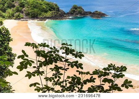 Fernando De Noronha, Brazil. View Of Sancho Beach On Fernando De Noronha Island. View Without Anyone