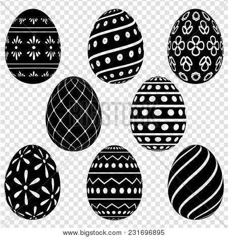 Set Of Easter Eggs With Patterns On A Transparent Background. Vector Illustration
