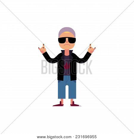 Young Rock Man In Sunglasses Staying And Making Hand Horns Gesture Isolated On White Background. Car