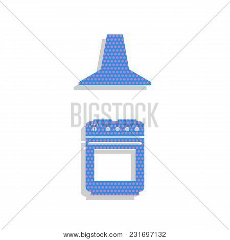 Electric Or Gas Stove And Extractor Kitchen Hood Sign. Vector. Neon Blue Icon With Cyclamen Polka Do