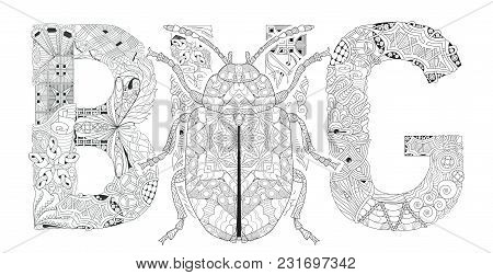 Hand-painted Art Design. Adult Anti-stress Coloring Page. Black And White Hand Drawn Illustration Wo