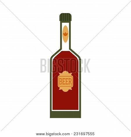 Vector Flat Beer Glass Bottle Mockup Closeup With Green Golden Lebel. Ready For Your Design Product