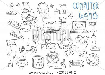 Set Of Icons Related To Computer Games. Various Joysticks, Gaming Controllers, Computer And Laptop.