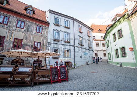 Cesky Krumlov, Czech Republic - 14 April 2017 : View Of The Buildings In Cesky Krumlov, The City In