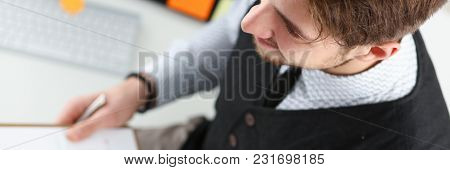 Young Smile Man At Office Workspace Closeup Portrait. White Collar Check Money Papers Stock Exchange