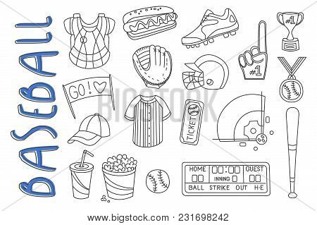 Set Of Sport Related Icons In Doodle Style. Baseball Equipment Bat, Glove, Ball, Shoes. Protective G