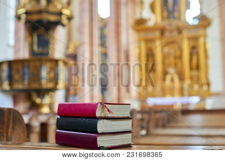 Holy Bible On A Wooden Church Bench, Selective Focus