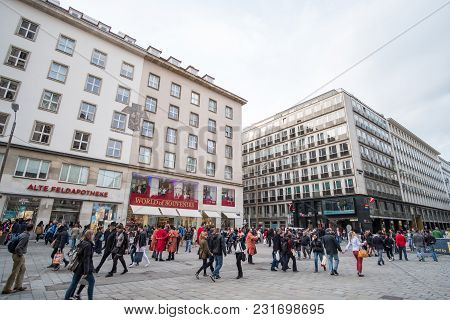 Vienna, Austria - 15 April 2017 : People Walking Along Graben Or Grabenstrasse, The Main Shopping St