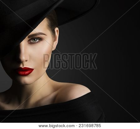 Fashion Model Beauty Portrait, Elegant Woman In Black Hat, Beautiful Lady Lips Eyes Make Up