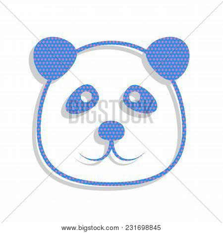 Panda Sign Illustration. Vector. Neon Blue Icon With Cyclamen Polka Dots Pattern With Light Gray Sha