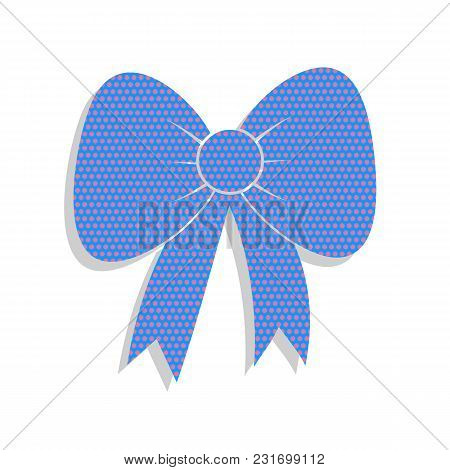 Bow Sign Illustration. Vector. Neon Blue Icon With Cyclamen Polka Dots Pattern With Light Gray Shado