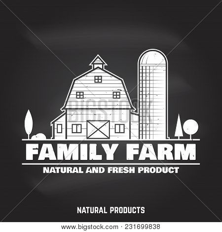 Family Farm Badges Or Labels On The Chalkboard. Vector Illustration. Vintage Typography Design With