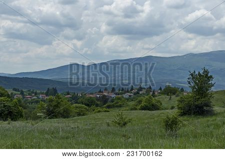 Scene With Mountain Glade, Forest And Residential District Of Bulgarian Village Plana, Plana Mountai