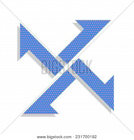 Cross From Arrows Icon. Vector. Neon Blue Icon With Cyclamen Polka Dots Pattern With Light Gray Shad