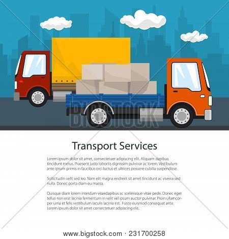 Brochure Of Road Transport And Logistics, Small Covered Truck And Cargo Van With Boxes Go On The Roa