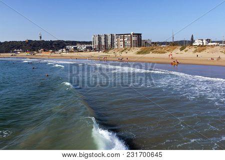 Ocean And Waves Breaking On Coastline In Durban