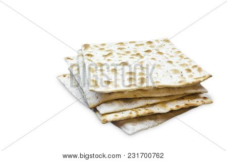 A Photo Of Two Pieces Of Matzah Or Matza Isolated On White Background. Matzah For The Jewish Passove